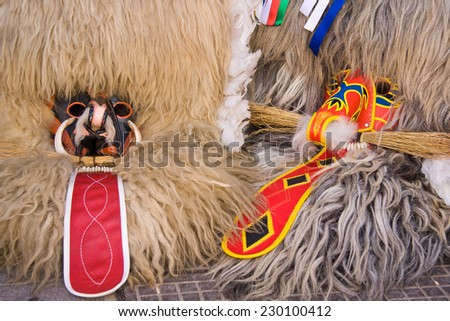 Slovene old traditional carnival mask, chasing away winter, calling spring,  Ptuj. Slovenia - stock photo