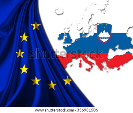 Slovenia and European Union Flag with Europe map background