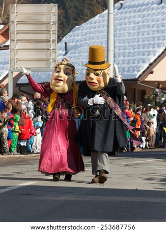 SLOVENIA - FEBRUARY 2015: Famous carnival parade called Pust - 40 ZACOPRANIH with hundreds of traditional and modern masks on February 15, 2015 in Butale, Cerknica, Slovenia