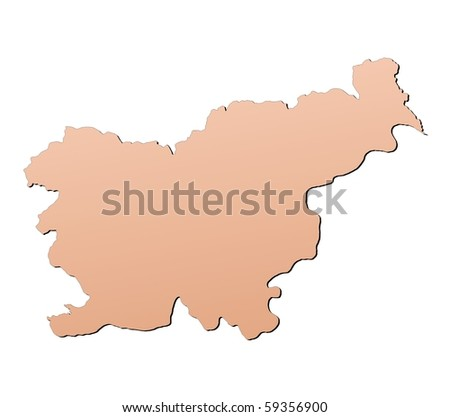 Slovenia map filled with brown gradient. Mercator projection. - stock photo