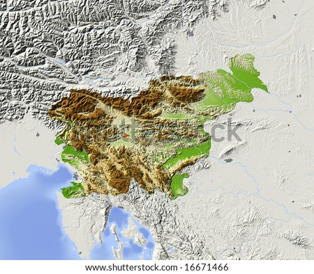 Slovenia. Shaded relief map with major urban areas. Surrounding territory greyed out. Colored according to elevation. Includes clip path for the state area. Data source: NASA - stock photo