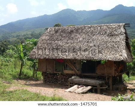 Slum House in Dakrong, Vietnam - stock photo