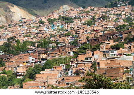 Slum Medellin, Colombia - stock photo