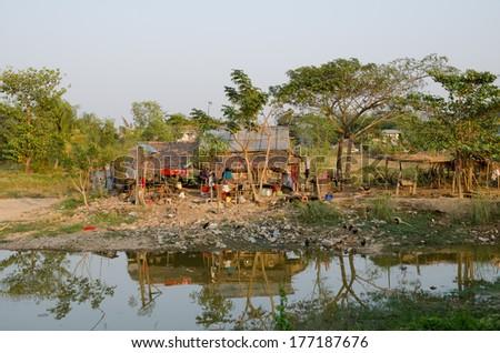 Slum Myanmar - stock photo