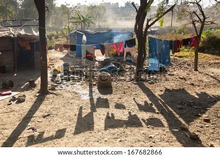 Slums in Kathmandu valley  - stock photo