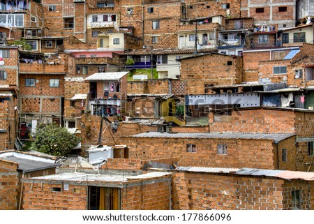 Slums in the city of Medellin, Colombia - stock photo
