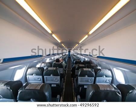 Small Aircraft Interior wide angle photo - stock photo