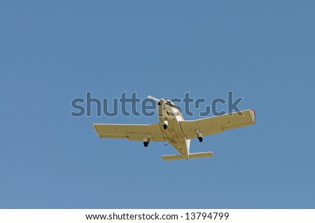 Small airplane flying overhead, Palo Alto, California