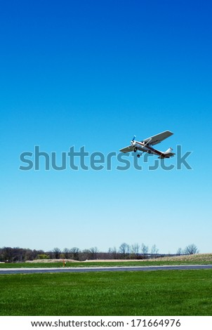 Small Airplane Taking Off - stock photo