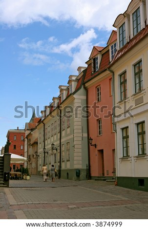 Small and beautiful street in old town (Riga, Latvia)