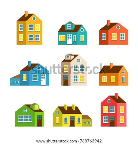 Small big flat cartoon houses isolated stock illustration for Big cute houses