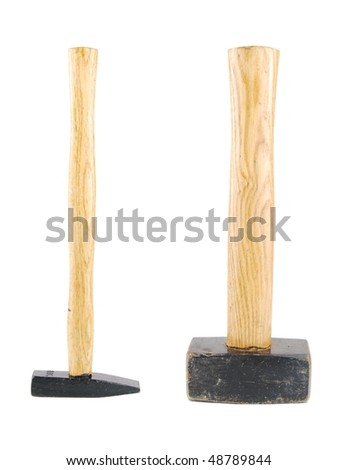 small and big wooden hammers isolated on white background - stock photo