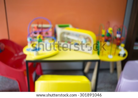Small and colorful table and chairs for little kids. ;Blur image