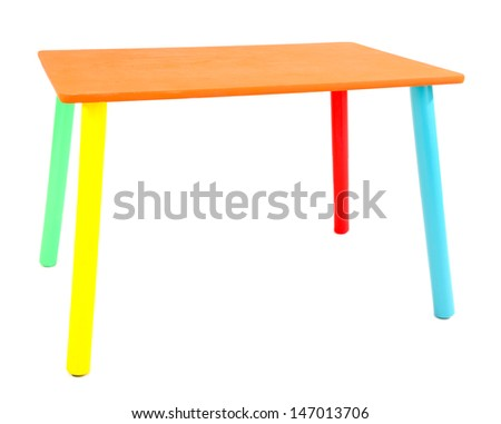 Small and colorful table for little kids isolated on white - stock photo