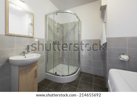 Small and compact bathroom in scandinavian style - stock photo