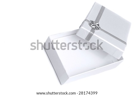 Small and empty gift box, perfect for necklace. With copy space. - stock photo