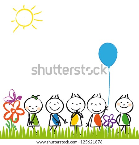 Small and happy kids in summer garden - stock photo