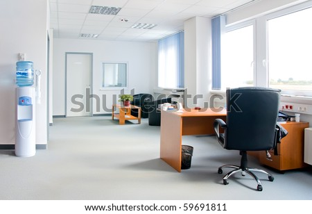 small and simple office interior - stock photo