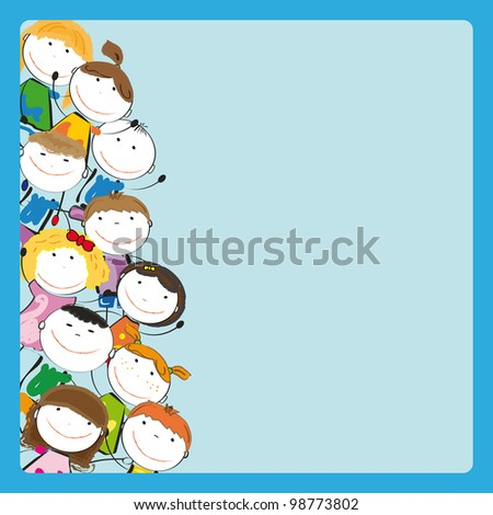Small and smile colorful kids with frame - stock photo