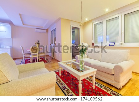 Small apartment interior, new and clean, modern design.  - stock photo