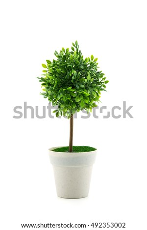 Small Artificial Tree In A Pot Isolated In White Background. Concept Image  For Interior Design