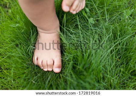 Small baby feet on the green grass. - stock photo