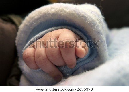 Small baby hand close up