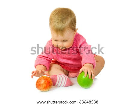 Small baby with apple #6 isolated - stock photo