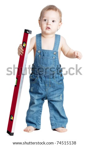 Small baby worker with level. Isolated on white - stock photo