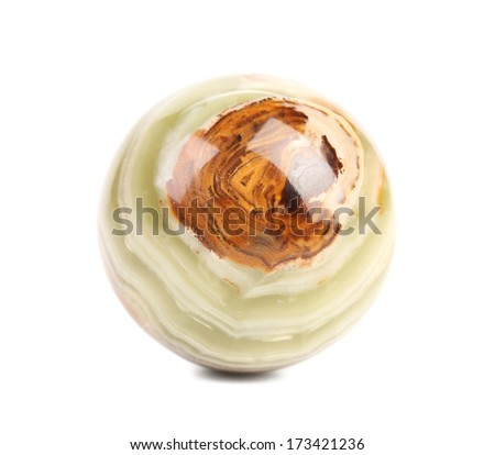 Small ball of jasper. Isolated on a white background. - stock photo