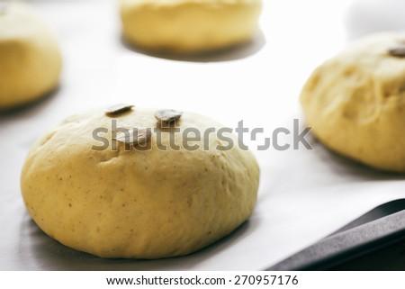 Small balls of fresh homemade dough - stock photo