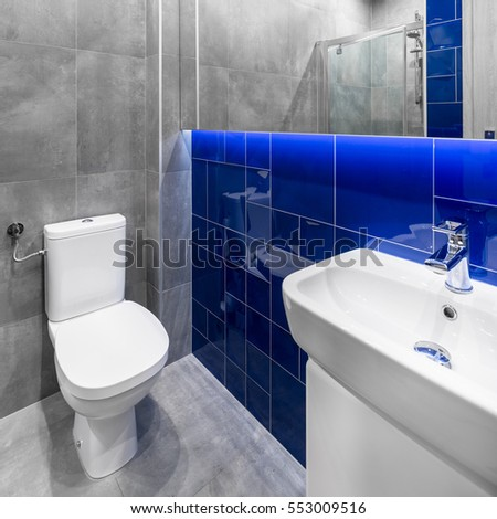 Small bathroom in grey and blue with toilet, sink and basin cabinet
