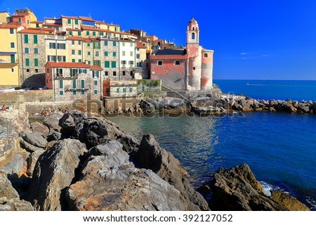 Small bay and colorful buildings of the old town of Tellaro, La Spezia, Italy - stock photo