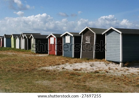 Small beach houses in Skåne, Sweden - stock photo