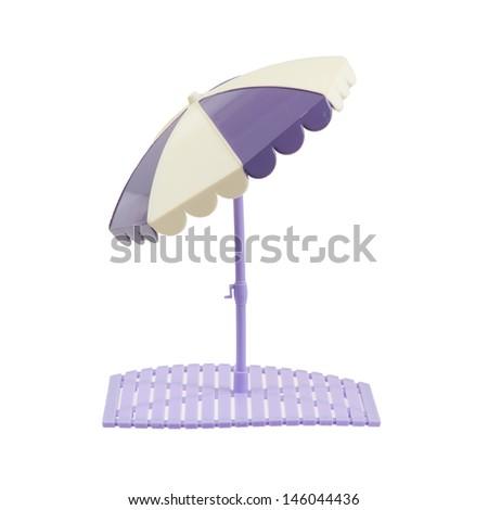 Small beach umbrella isolated on white background - stock photo