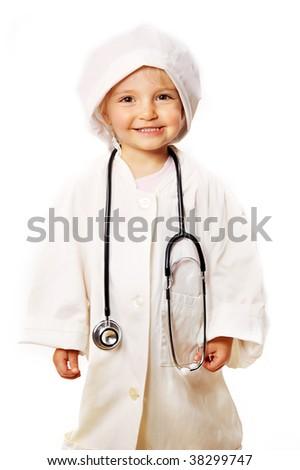 small beautiful girl playing doctor - stock photo