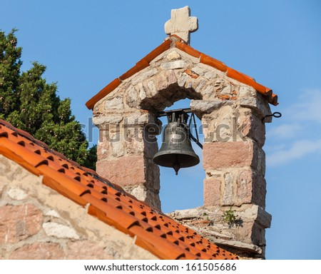 Small bell tower in The monastery Gradiste, Montenegro - stock photo