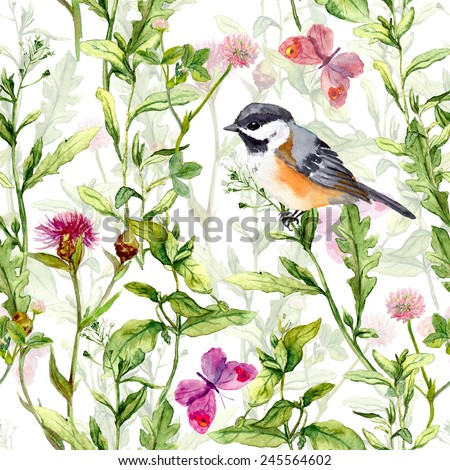 Small bird in spring wild herbs and meadow flowers with butterflies. Repeated pattern. Watercolor - stock photo