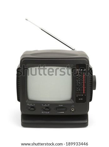 Small Black Television with Antenna Isolated on White Background. - stock photo