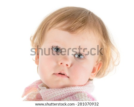 small blonde baby portrait, over white