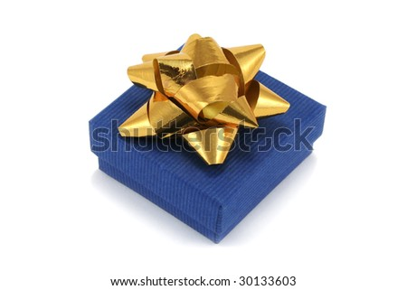 small blue cardboard giftbox with gold metallic bow - stock photo