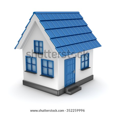 Small blue house model , This is a computer generated and 3d rendered picture.