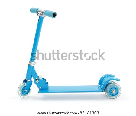 Small blue toy scooter with three wheels - stock photo