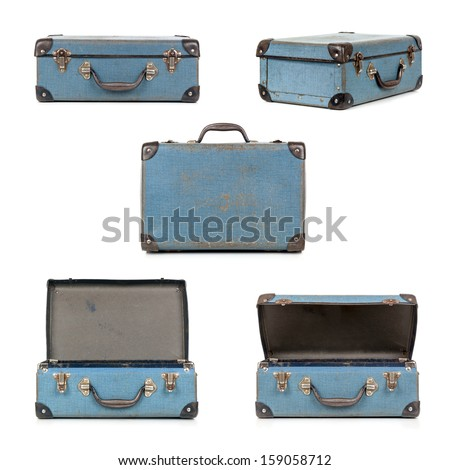 Small blue vintage suitcase in different views, isolated on white.  My old childhood school case. - stock photo