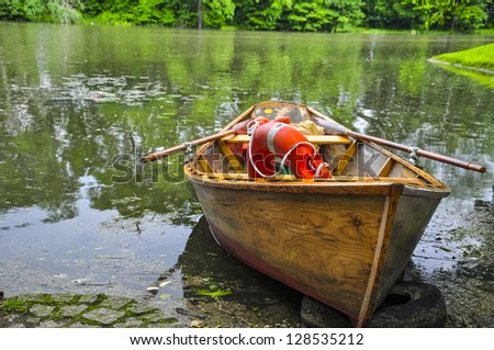 Small boat on a lake in poland.