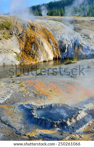 small boiling geyser in Upper Geyser basin of Yellowstone National Park, Wyoming - stock photo