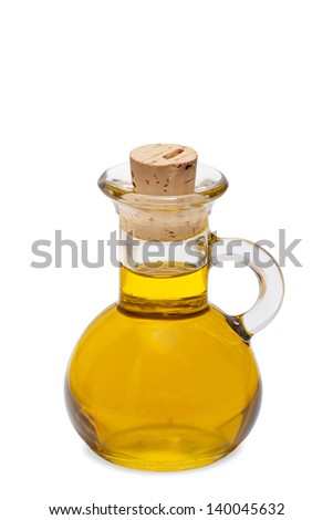 Small bottle of olive oil with cork stopper isolated in front of white background - stock photo