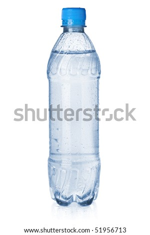 Small bottle of soda water. Isolated on white background