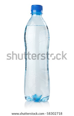 Small bottle of soda water. Isolated on white background - stock photo