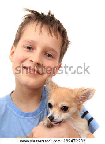 small boy and his chihuahua